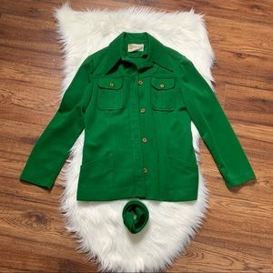 White Stag Green belted sweater Size M